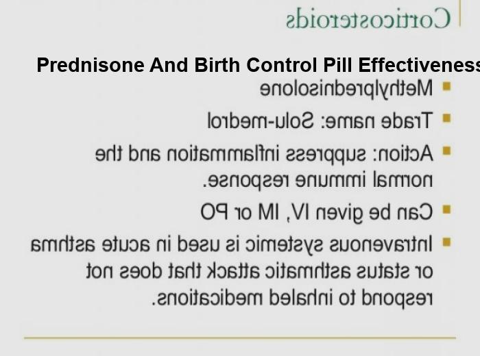 Prednisone and birth control pill effectiveness